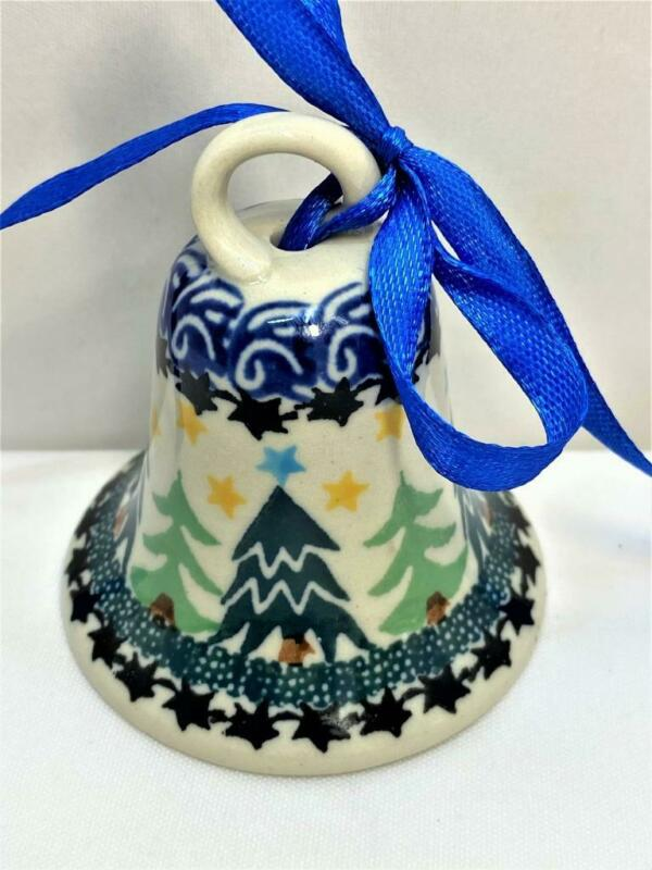 """Hand Painted Porcelain Christmas Bell Trees Stars 2 3/4"""" Tall Tree Ornament"""