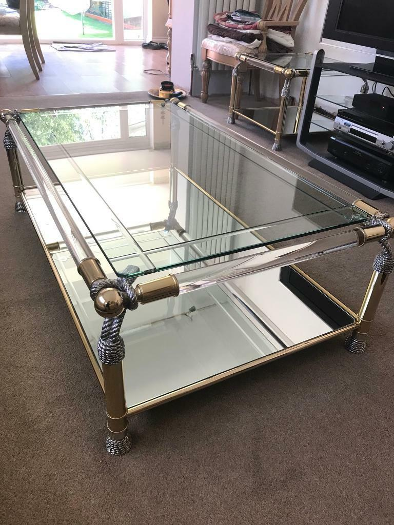 mirrored coffee table sets borghese glassmirrored coffee lamp table set in london gumtree