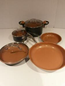 Like NEW Gotham Steel Ti-Cerama 8 Piece Cookware Set fry pan skillet with lid saucepan with lid  Nonstick stock / Pasta