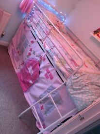 Mid sleeper bed frame with mattress and tent