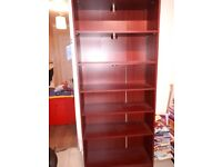 Brown wooden bookcase with lights