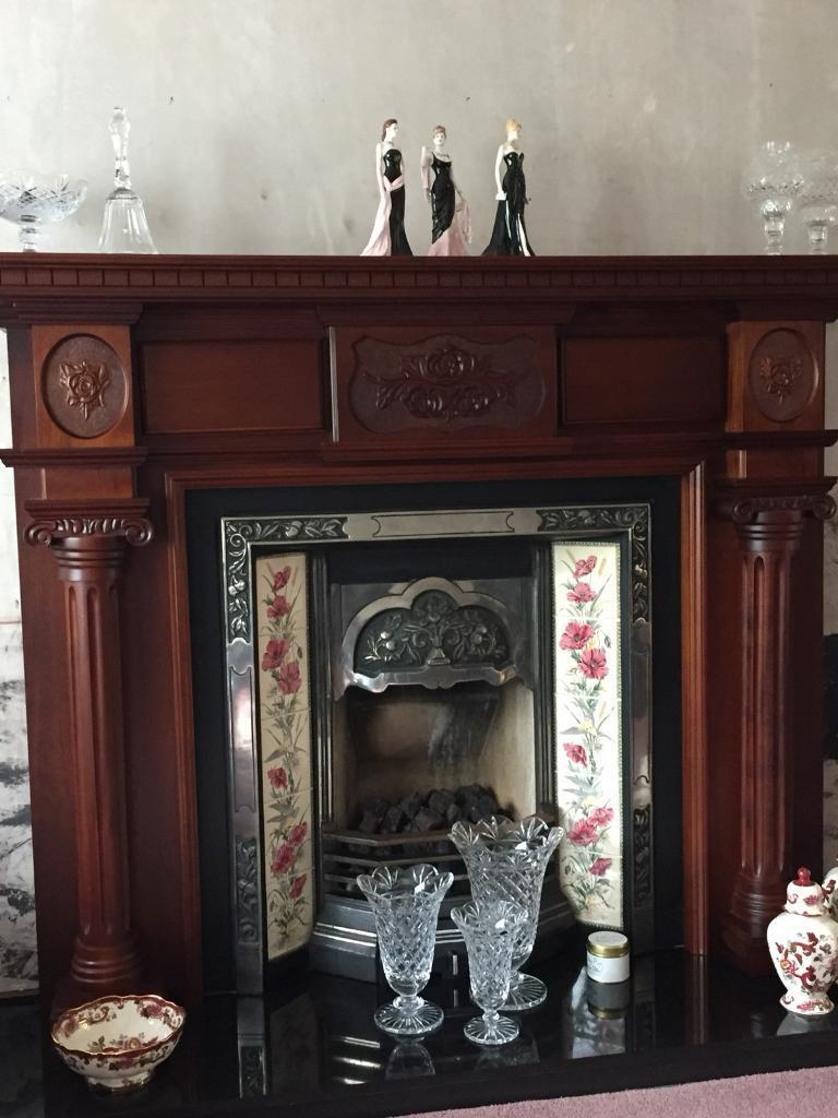 Large Mahogany Fireplace, Cast Iron Inset & Gas Fire