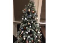 Christmas tree, decorations and green storage bag