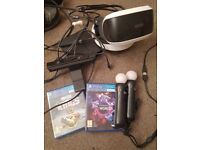 Playstation VR with camera. Plus 2 move controllers and 1 games