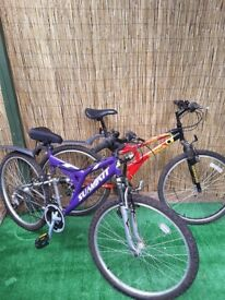 Ladies and gents 26 inch wheel bikes front and rear suspension 8 gears slight rust on handlebars