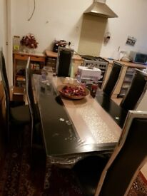 6 chair and glass dining table