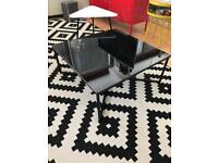 Coffe Table Low Level Black Glass Metal Legs & small white triangle Wood/Metal coffee table