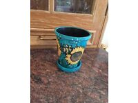 Decorative plant pot, clay with gouache, hand-painted