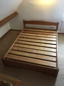 Rustic handmade solid pine kingsize double bed frame with 2 very large under bed drawers
