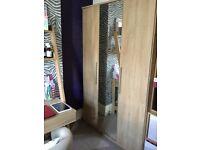 3 door oak effect wardrobe