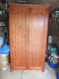 Double Wardrobe Mahogany stained Pine antique type handles 195cmx105cmx50cm