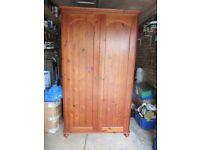 Double Wardrobe Mahogany stained Pine antique type handles 195cmx105cmx50cm