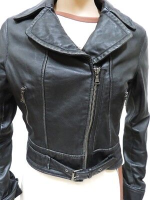 Genuine Leather Motorcycle Jacket Black Sz S Riding Outerwear Express , used for sale  Shipping to India