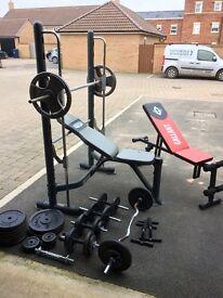 Weight lifting equipment- smith machine, adjustable bench, 200kg cast iron weights, dumbells, EZ bar