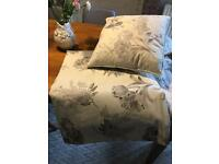 Beautiful grey and white/cream floral curtains