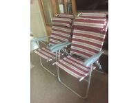 Two reclining camping chairs
