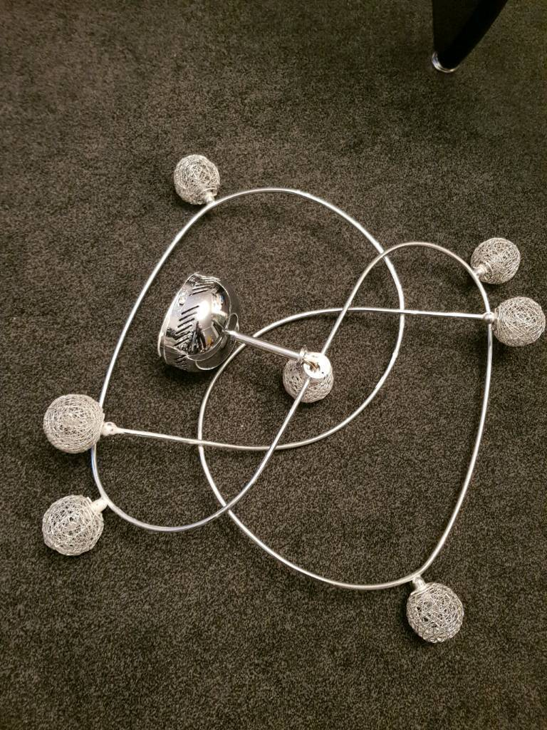 Ceiling Lights Chrome Modern Living Room Lights 7x bulbs Great Condition