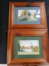 Two oak framed watercolour pictures by J Warner