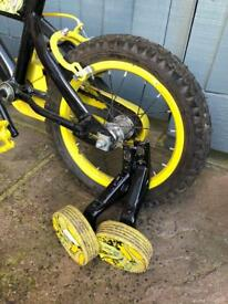 "Children's 14"" bike with stabilisers."