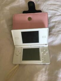 White Nintendo ds lite - games, charger, case