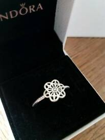 Genuine Pandora lace floral ring