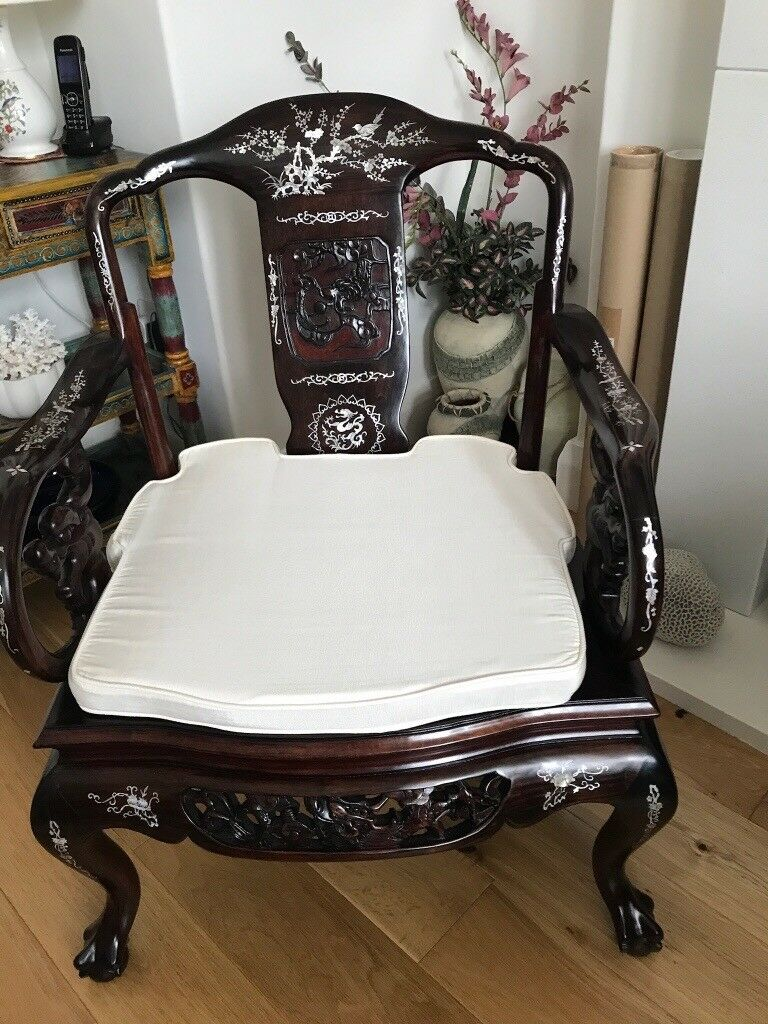 2 Classic Chinese Rosewood Chairs With Mother Of Pearl