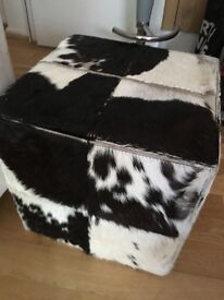 Leather square stool,