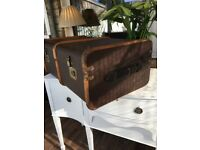 Vintage Steamer Travel Trunk Coffee Table Storage