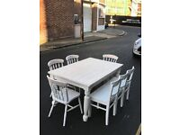 SOLID PINE SHABBY CHIC TABLE BENCH AND CHAIRS