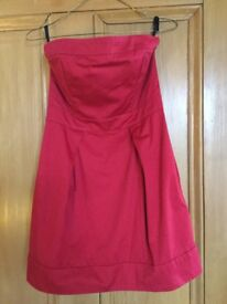 French Connection red strapless dress, size 8