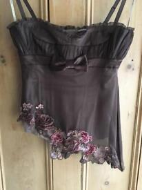 Karen Millen top size 12, silk lined, brown, corset, wedding, races, beautiful