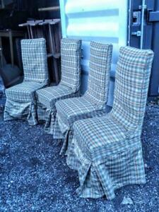 Oakville 4 Dining Room Chairs Washable Covers Antique Wood Legs Wheels Good Quality Plaid