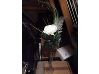 65cm large cream rose/peony with silver leaf and grass