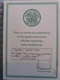 Framed Celtic shirt signed by 8 Lisbon Lions. £150