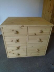 Solid pine chest of drawers with shelves