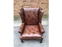 Absolutely Stunning Very Large Vintage Brown Leather Wing Back Armchair