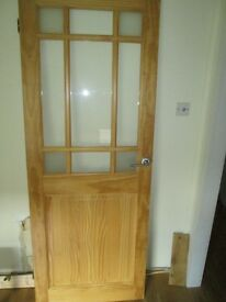 Interior glazed door with chrome handles