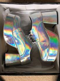 Silver Platform Shoes Size 9