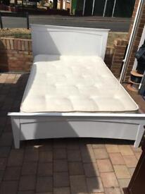 White painted wooden double bed with mattress