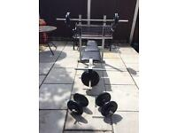 DP Fitness weight bench with leg ext, 108.5KG metal weight plates, barbell & 2 dumbbells