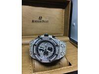 Ap audemars piguet iced diamond watch automatic transparent cartier mille rolex Patek phillipe