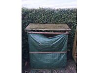 Wooden Slatted Log Stores (treated timber) x 2