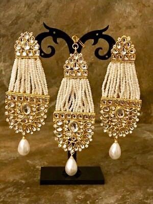 USA Indian Pakistani Kundan Ethnic Bollywood Mangtika Tikka Long Jhumka Earrings