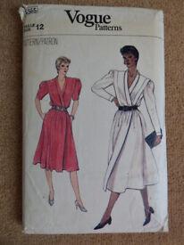 Vogue 8555 Vintage Circa 1980's Rare Wrap Dress Sewing Pattern Size 12