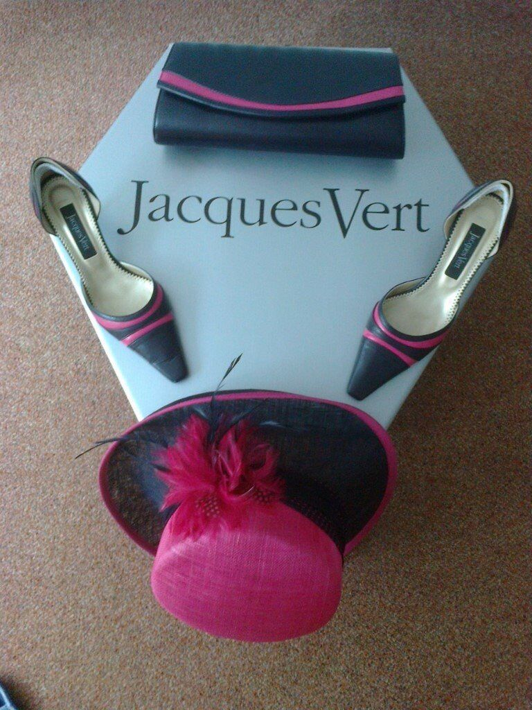 Jaques Vert Matching Navy And Cerise Wedding Hat Shoes Bag