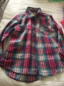 Next girls pink/teal/white check shirt age 12 years.