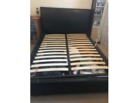 Double bed frame Faux leather with Gaslift storage *Mattress not included *