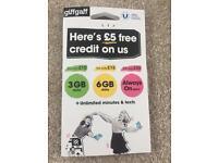 Giff Gaff Mobile Sim Card £5 Free