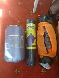 Camping bundle - tent, mat and sleeping bag