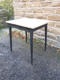 Vintage Antique Retro Small Console / Dining Table Wooden Black Shabby Chic Rustic Plywood Wood